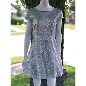 Silver Sequin Fit n' Flare Skater Party Dress